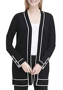 Piped Long Cardigan