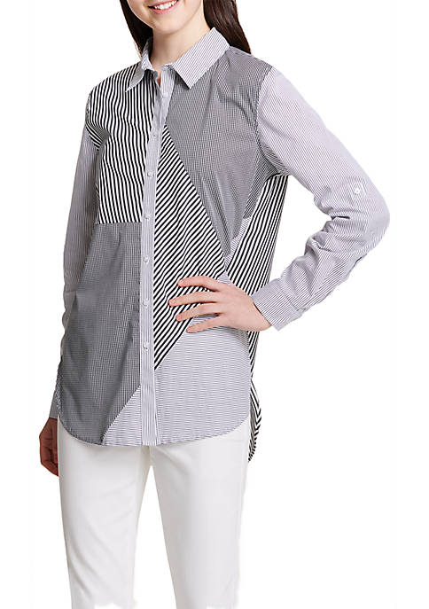 Calvin Klein Mixed Stripe Button Front Blouse