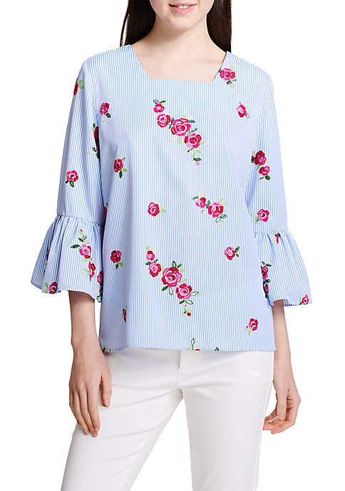 Calvin Klein Flutter Sleeve Allover Embroidered Blouse