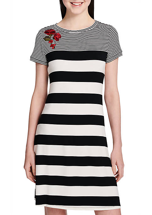 Calvin Klein Stripe Dress With Embroidery