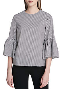 9848daf5de454d ... Calvin Klein Even Stripe With Bell Sleeves Top