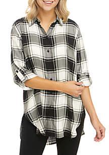 Long Roll-Tab Sleeve Plaid Boyfriend Tunic