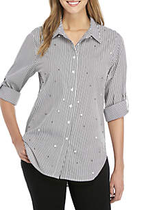 Calvin Klein Roll-Sleeve Poplin Top with Pearls
