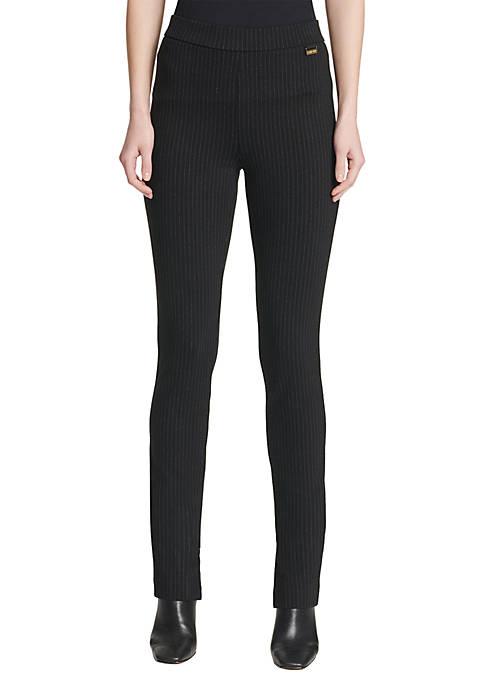Calvin Klein Womens Pinstripe Pullover Ponte Pants