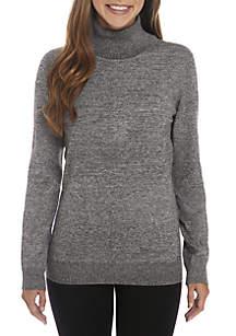 Marled Rib Knit Turtleneck Sweater