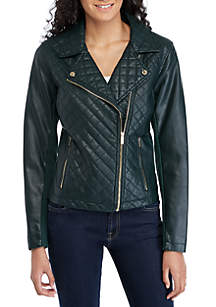 Calvin Klein Quilted Faux Leather Moto Jacket