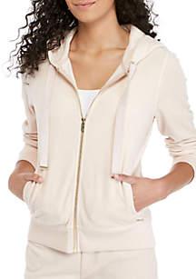 Logo Tie Zip Velour Jacket