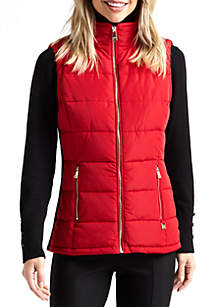 Rib Inset Quilted Vest