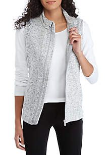 Marled Fleece Zip Vest