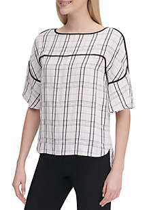 Calvin Klein Short Sleeve Piped Trim Top