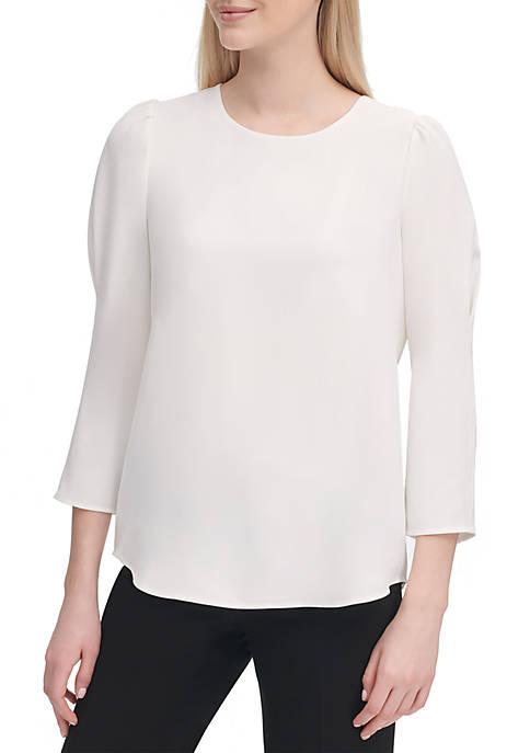 Calvin Klein Long Sleeve Puff Shoulder Top