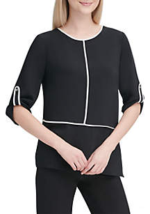 Calvin Klein Roll Tab Sleeve Piped Trim Top