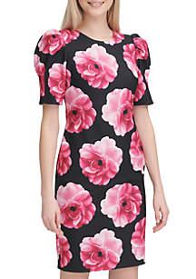 Calvin Klein Puff Shoulder Floral Print Dress