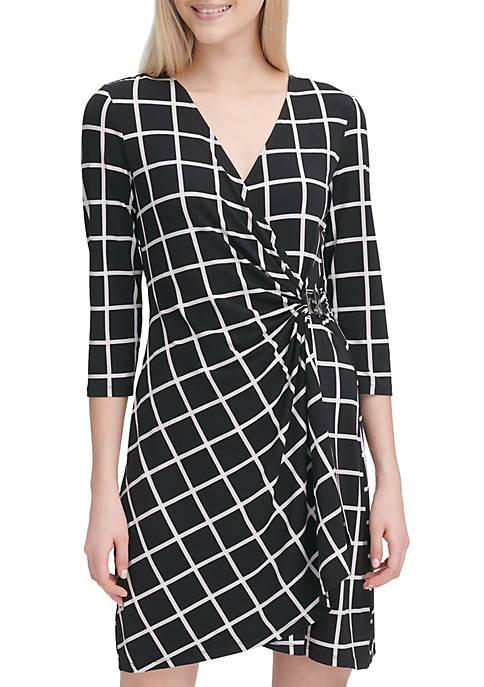 Calvin Klein Windowpane Wrap Dress