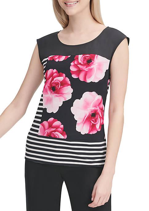 Cap Sleeve Stripe Floral Color Block Knit Top