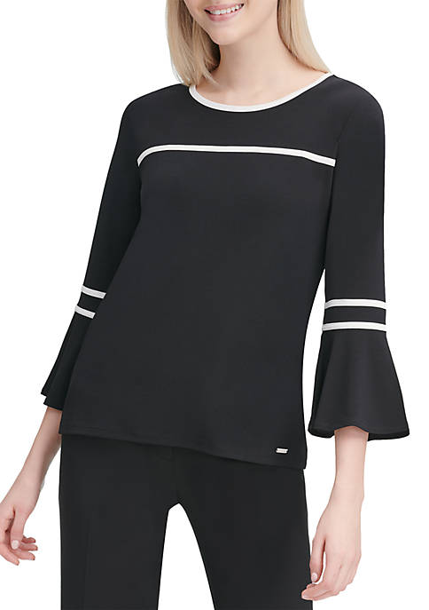 Calvin Klein Bell Sleeve Pipe Trim Knit Top