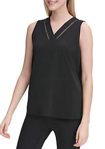Calvin Klein Sleeveless Contrast Trim Knit Top