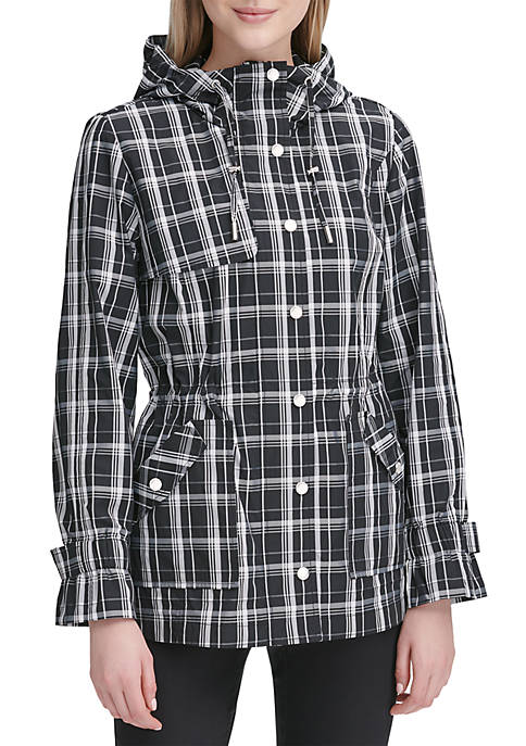 Calvin Klein Hood Plaid Trench Coat