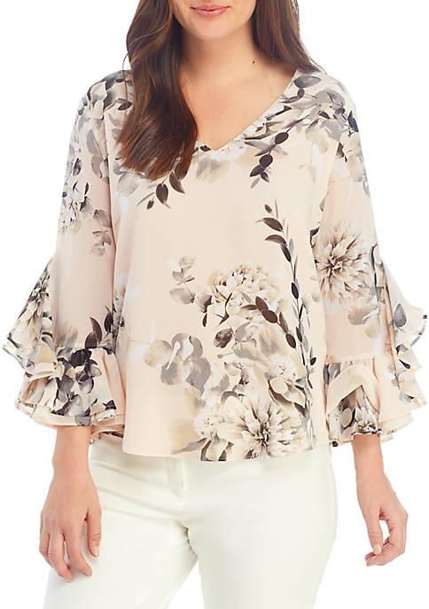 Printed Ruffle Sleeve Top