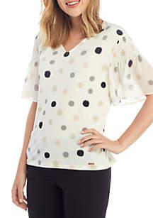 ef5311a76b9a ... Calvin Klein Printed Short Sleeve V Neck Top