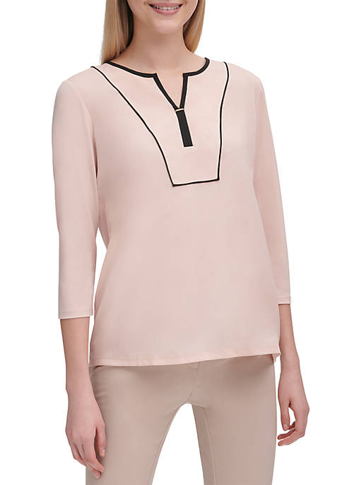 Calvin Klein Woven Split Neck Top