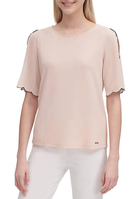 Calvin Klein Short Scallop Sleeve Knit Top