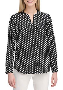 Calvin Klein Polka Dot Button Up Shirt