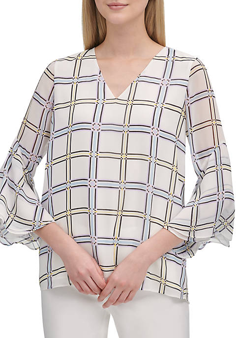 Calvin Klein Grid Blouse with Flutter Sleeves