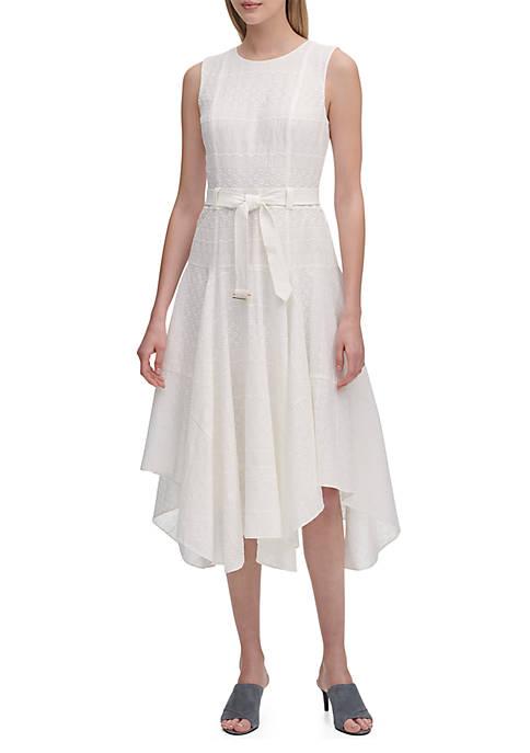 Calvin Klein Eyelet Dress with Handkerchief Hem