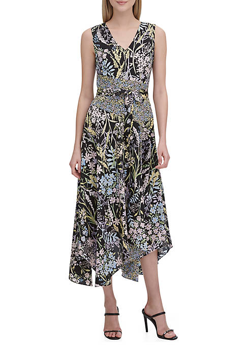 Calvin Klein Floral Belted A Line Dress
