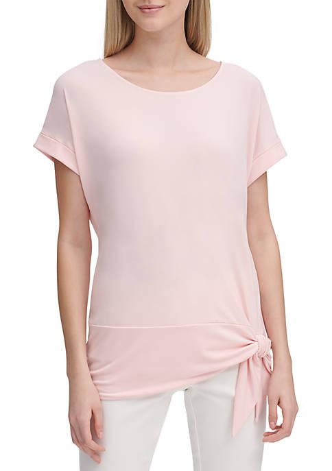 Calvin Klein Short Sleeve Side Tie Knit Top