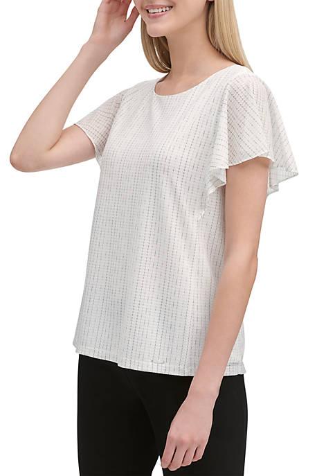 Fade Pinstripe Flutter Sleeve T Shirt