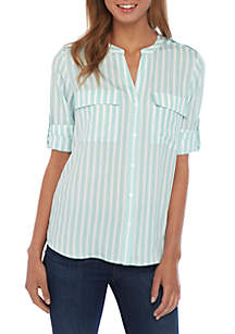 6635134e6 ... Calvin Klein Stripe Roll Sleeve Shirt