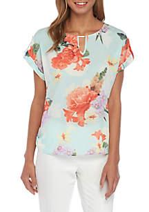 47578b9b52 Calvin Klein Floral Stripe Mixed Print Sleeveless Top · Calvin Klein Floral  Short Sleeve V Neck Bar Blouse