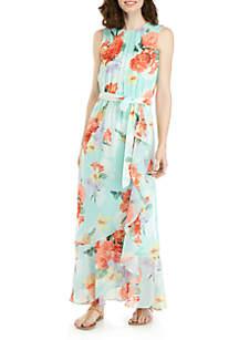 Calvin Klein Ruffle Front Floral Maxi Dress