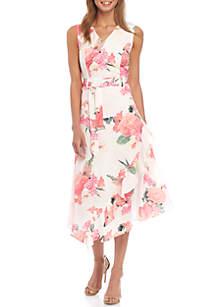 Calvin Klein V Neck Belted Ruffle Dress