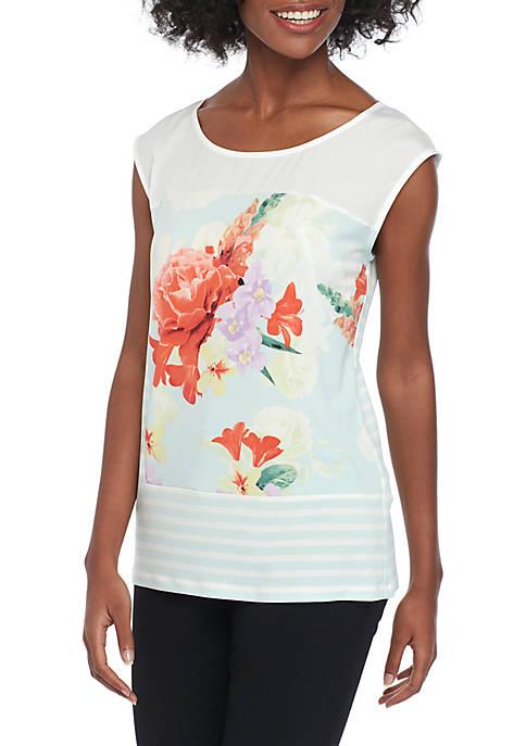 Floral Stripe Mixed Print Sleeveless Top