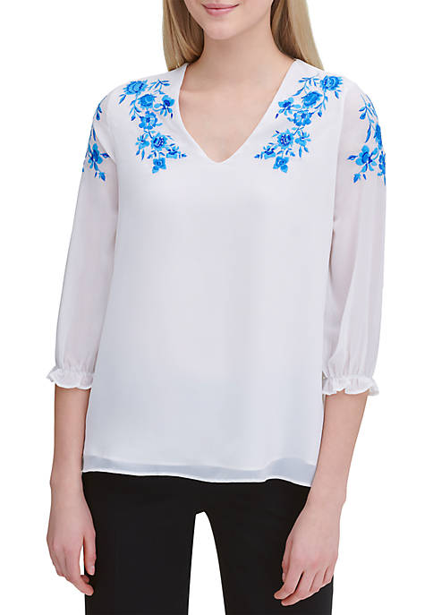 Calvin Klein Embroidered V Neck Peasant Blouse