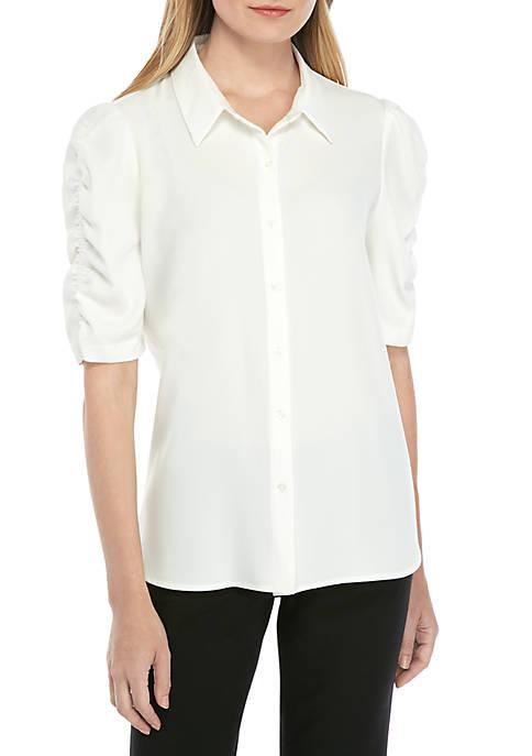 Calvin Klein Ruch Sleeve Woven Shirt