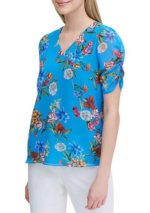 Calvin Klein Floral Puff Sleeve Blouse