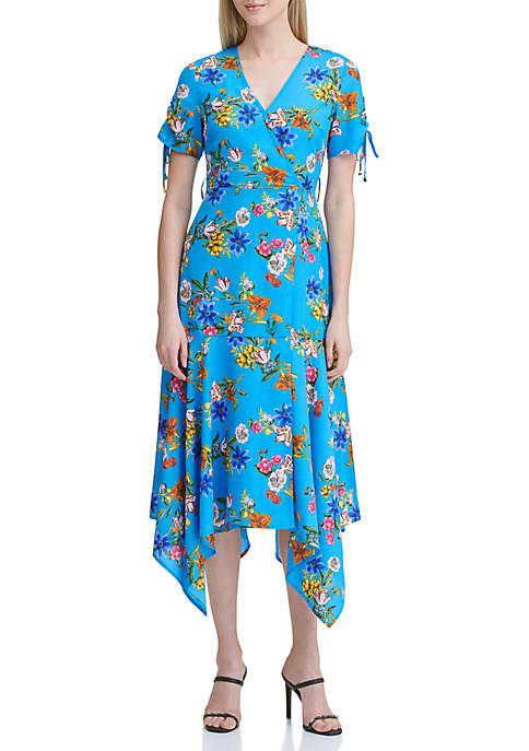 Calvin Klein Floral Ruched Sleeve Dress
