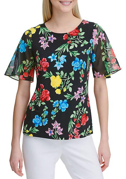 Calvin Klein Floral Chiffon Sleeveless Top