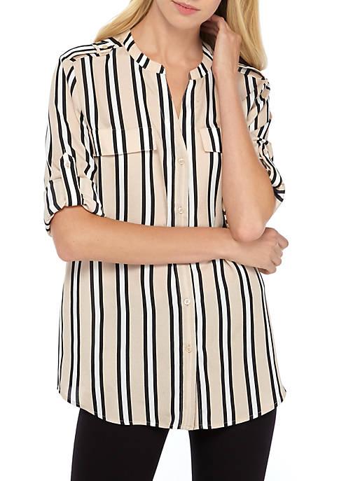 Calvin Klein Printed Roll Tab Sleeve Shirt