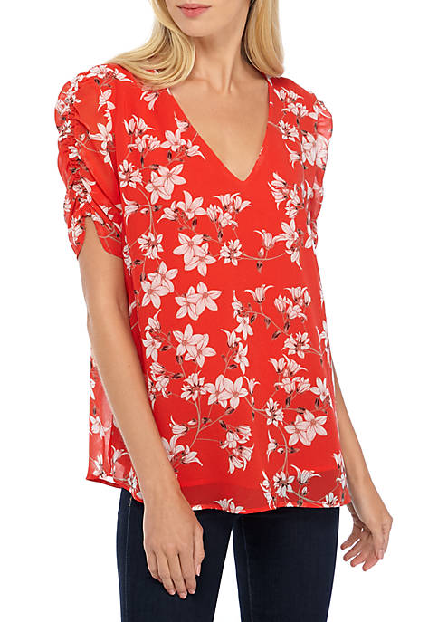 Calvin Klein Floral Ruch Sleeve Blouse