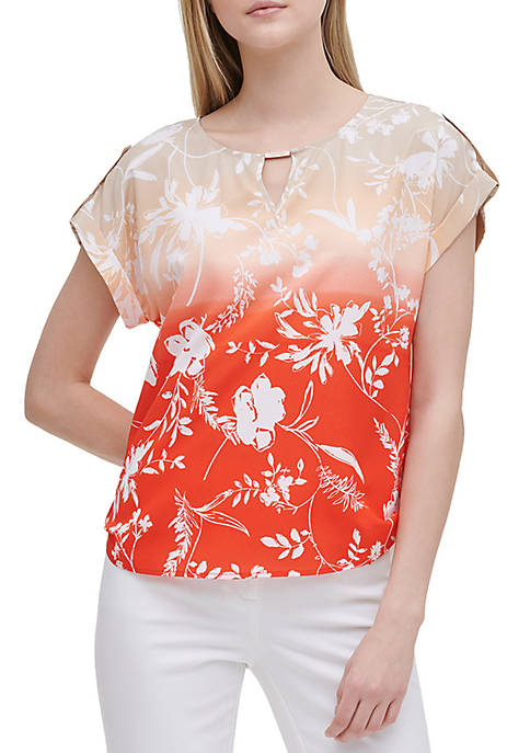Calvin Klein Print Bar Tab Short Sleeve Blouse