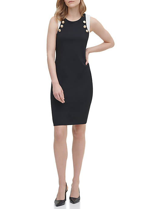 Calvin Klein Contrast Button Trim Sheath Dress