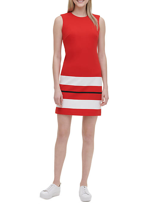 Calvin Klein Sleeveless Hem Ponte Dress