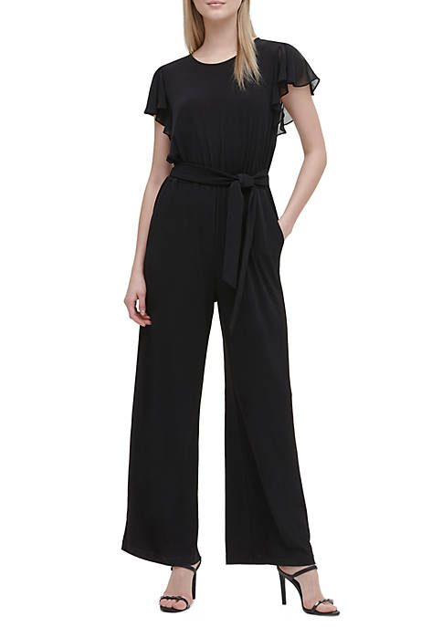 Calvin Klein Chiffon Flutter Sleeve Jumpsuit