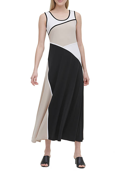 Calvin Klein Color Block Knit Maxi Dress