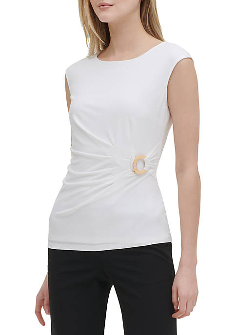 Calvin Klein Sleeveless Side Ruched Hardware Top